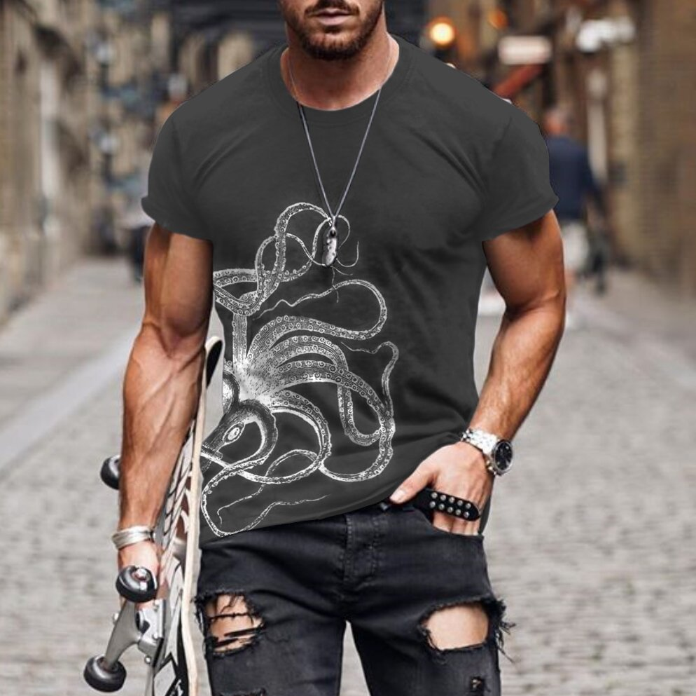 Mens fashion octopus print T-shirt / [viawink] /