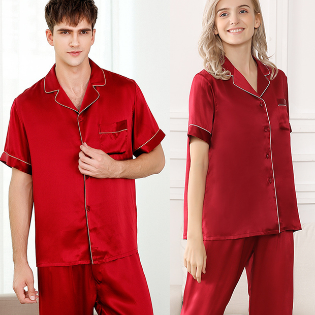 19 Momme Chic Trimmed Silk Couple Pajamas Sets、Real Silk Life