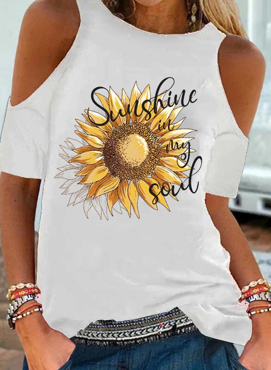 White Women's T-shirts Sunflower Letter Print Cold Shoulder T-shirt LC2518137-1