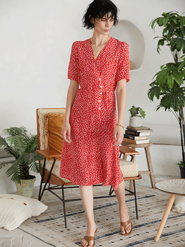 Elegant Red Flora Scattered Silk Dress、Real Silk Life