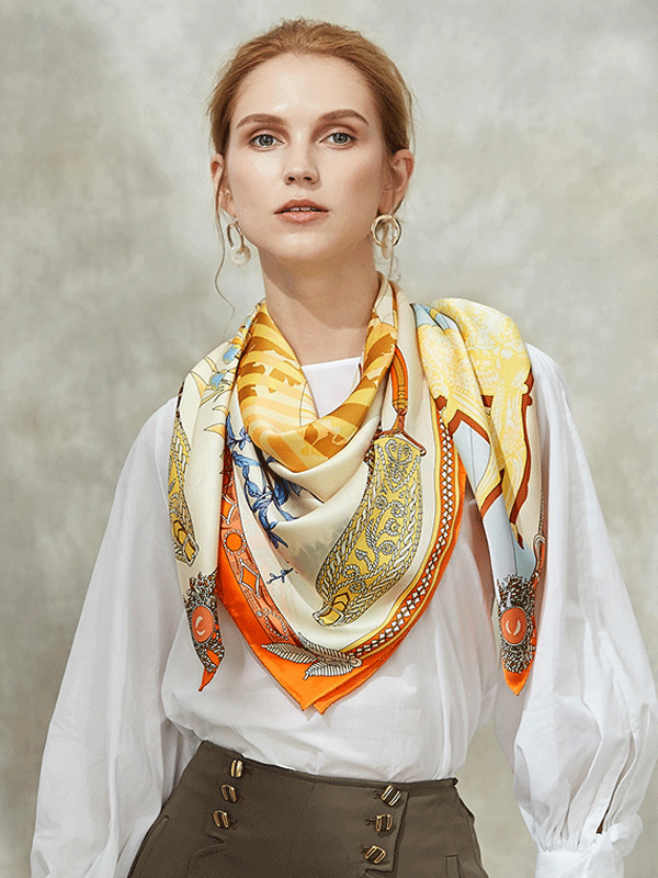 Yellow Printed Silk Scarf 1021180321 106*106、REAL SILK LIFE