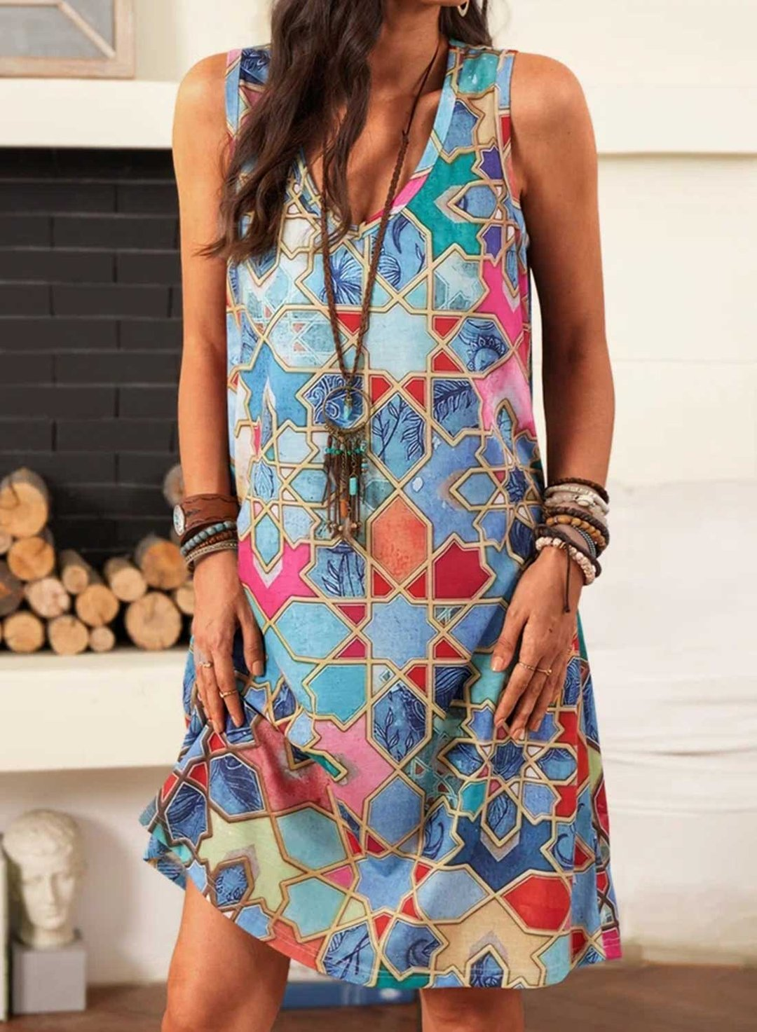 Multicolor Women's Dress Geometric Color Block Tank Mini Dress LC226472-22