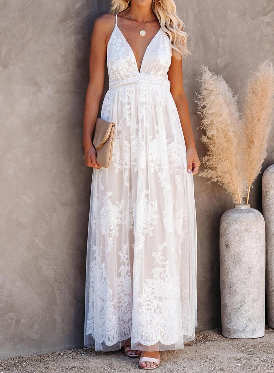 White V-Neck Lace Open Back Wedding Maxi Dress LC611872-1
