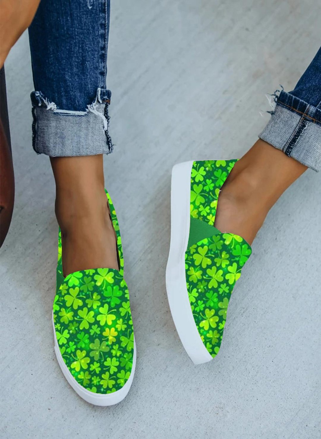 Green Women's Sneakers Canvas Festival Floral Sporty Casual Daily Indoor Outdoor Sneakers LC121011-9