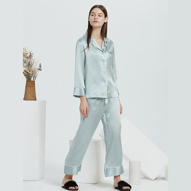 19 Momme French Design Long Silk Pajamas Set | Multi-Colors Selected、Real Silk Life