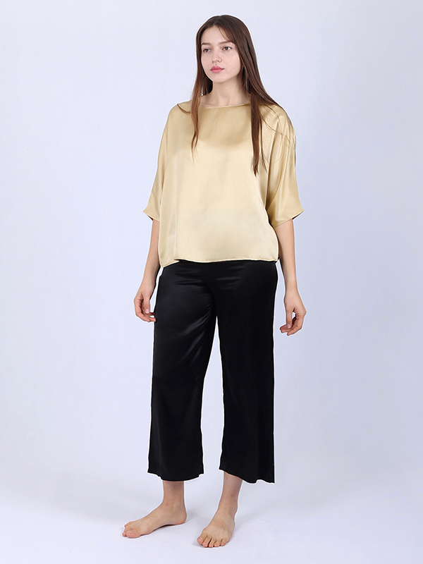 22 Momme Loose Cozy Gold Women's Silk Pajamas Set、Real Silk Life