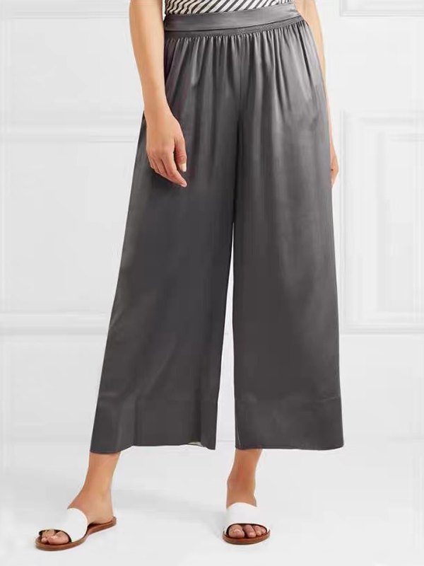 Women Elastic Waist Ankle-length Silk Pants With Pockets、Real Silk Life