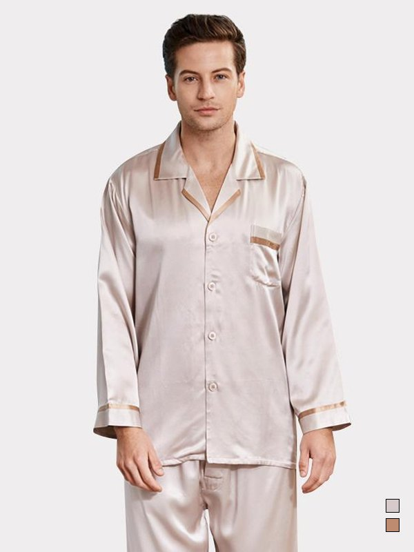 22 Momme High Quality Classic Silk Pajamas For Men、Real Silk Life