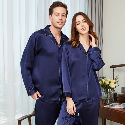 22 Momme Long Sleeves Classic Silk Pajamas Set For Couple、REAL SILK LIFE
