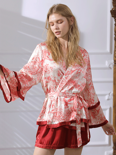 High Quality Oriental Printed Long Sleeves Silk Pajamas Set For Women、Real Silk Life