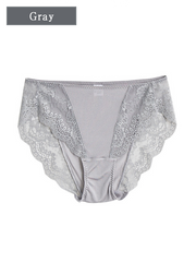 Mid Waist Silk Panty With Lace Trim 4 Pack、Real Silk Life