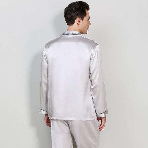 22 Momme High Quality Classic Silk Pajamas Set with Contrast Piping for Men、Real Silk Life