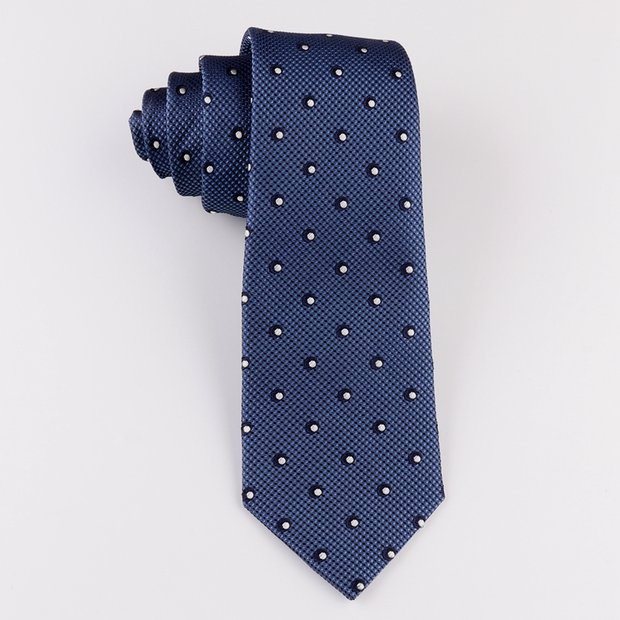 Salient Dot Navy Blue Silk Tie、Real Silk Life