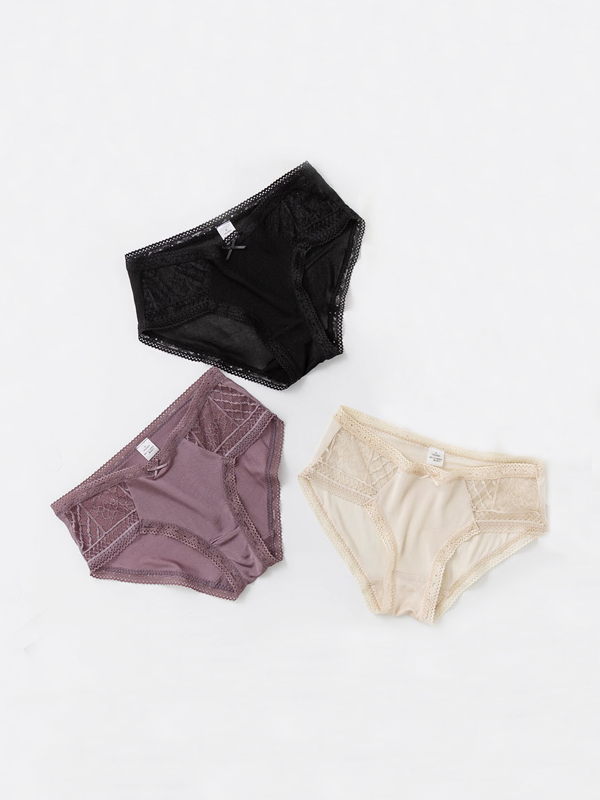 Gleamingly Silk Panty With Lace Trim 3 Pack、Real Silk Life