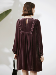 Classic Pure Color Mid length Silk Velvet Nightgown For Women、Real Silk Life