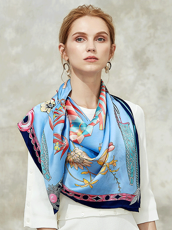 Blue Printed Silk Scarf 1021180321 106*106、REAL SILK LIFE