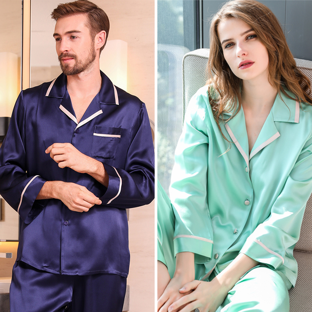 Monogrammed 19 Momme French Design Long Sleeves Classic Silk Pajamas Set For Couple、Real Silk Life