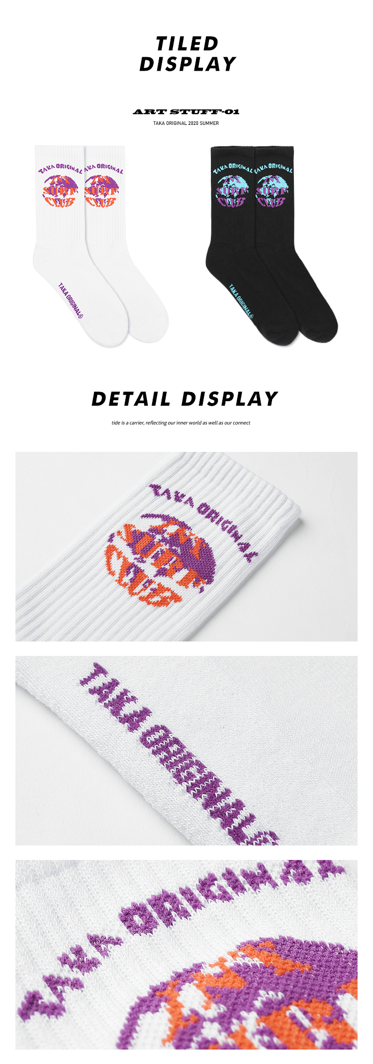taka original 20SS internet surf club cotton blend unisex sport socks for teen