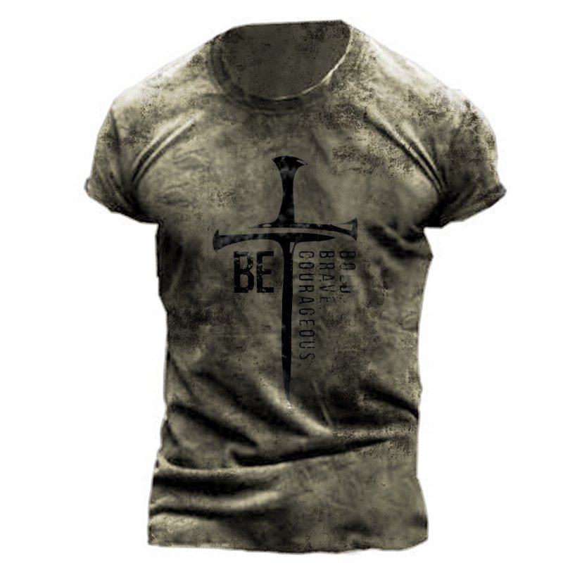 Fashion retro cross tactical short-sleeved T-shirt / [viawink] /