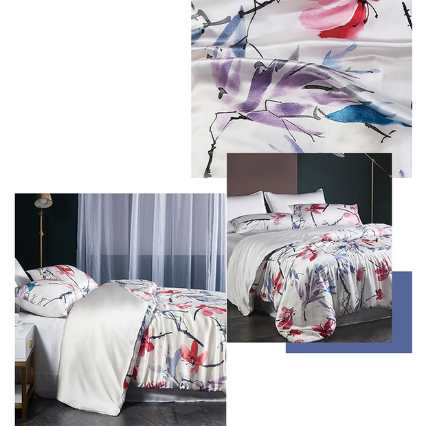 19 Momme Oriental Painting Printed Silk Duvet Cover Set | 4pcs、Real Silk Life