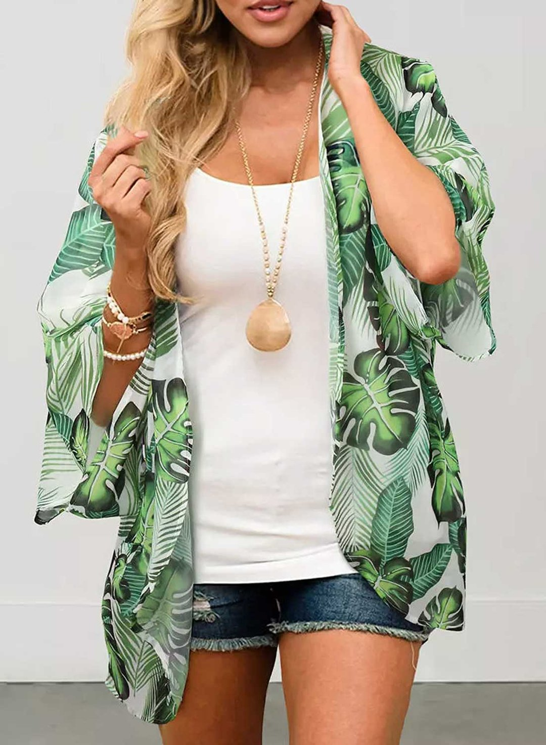 Green Women's Blouses Palm Leaf Open Front Blouses LC254744-9