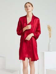 Monogrammed 22 Momme High Quality Red Silk Robe Set-Two Pieces、Real Silk Life