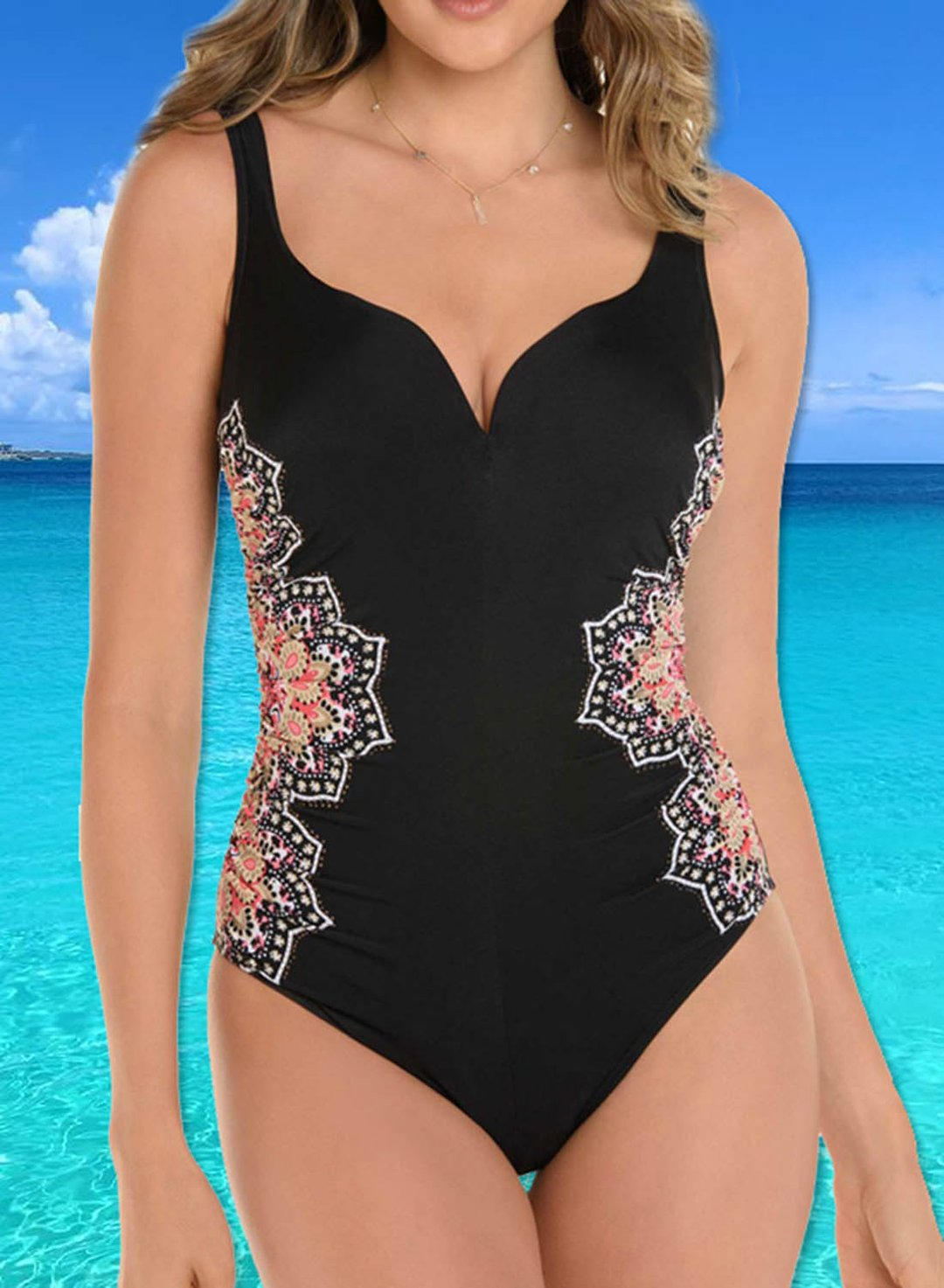 Black Women's Swimsuits Mandala Print Backless One-piece Swimsuit LC441349-2