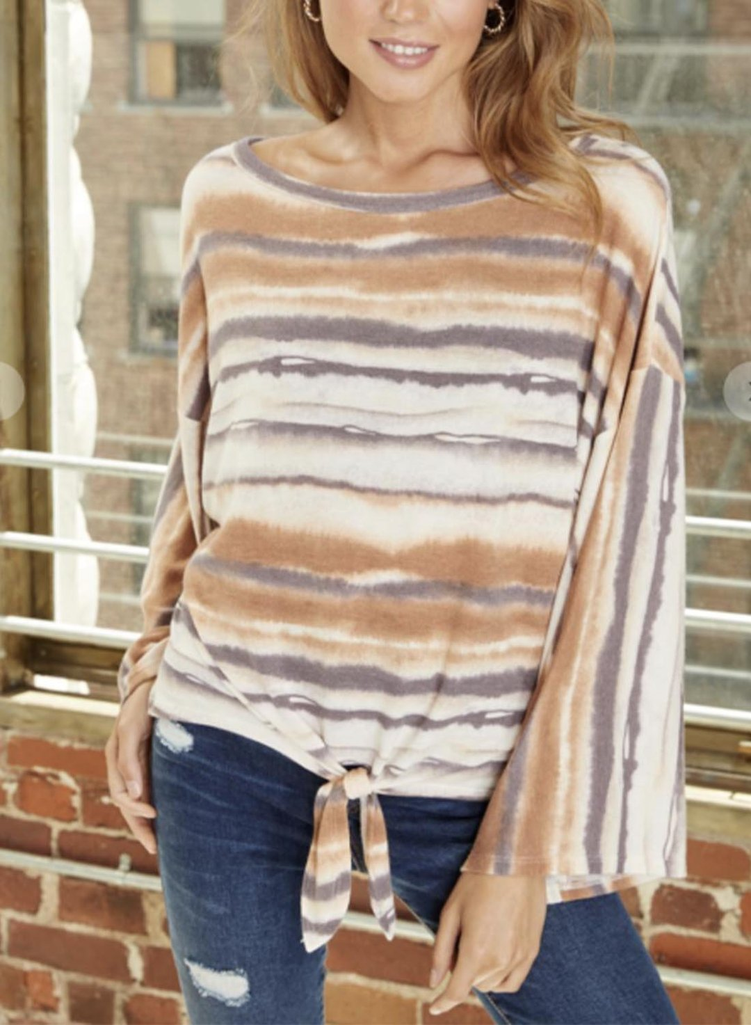 Stripe Women's Pullovers Color Block Long Sleeve Round Neck Knot Casual Pullover LC2517325-19