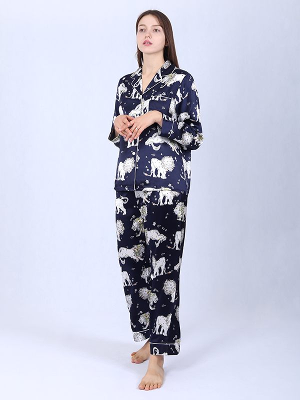 22 Momme High Quality Lion Printed Vintage Collection Silk Pajamas Set Blue