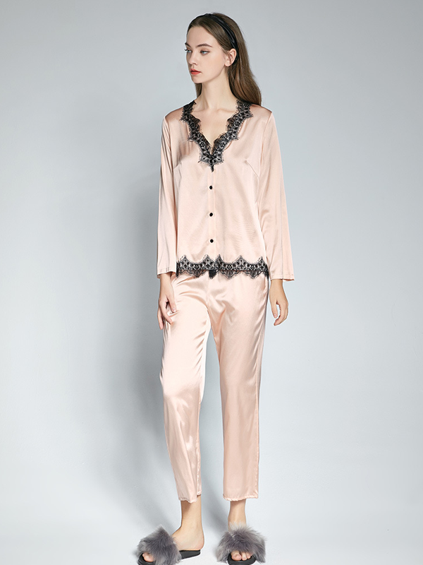 Elegant V Neck Silk Pajamas Set With Black Lace For Women