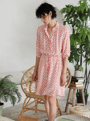 Elegant Pink Flora Scattered Silk Dress、Real Silk Life