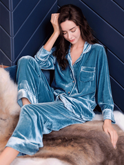 Luxurious Silk Velvet Pajamas Set With Pocket For Women、Real Silk Life