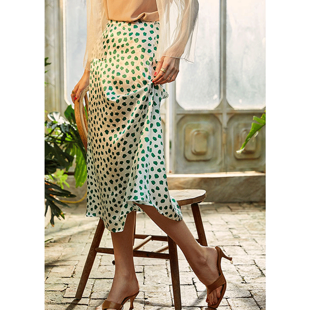 White Dot Green Silk Skirt、Real Silk Life