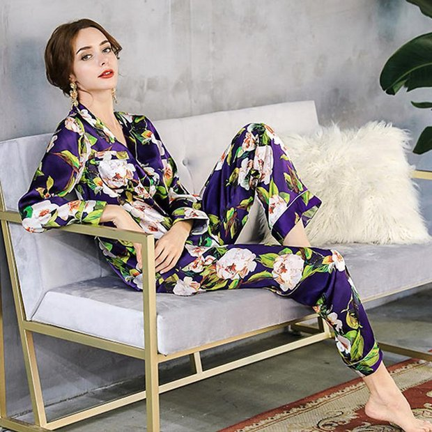 19 Momme Women's Purple Printed Real Silk Pajamas Set、Real Silk Life