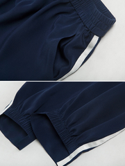 Elastic Casual Waist Silk Pants With White Line Elastic Hem、Real Silk Life