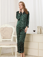 22 Momme High Quality Green Heart Printed Love Collection Silk Pajamas Set、Real Silk Life