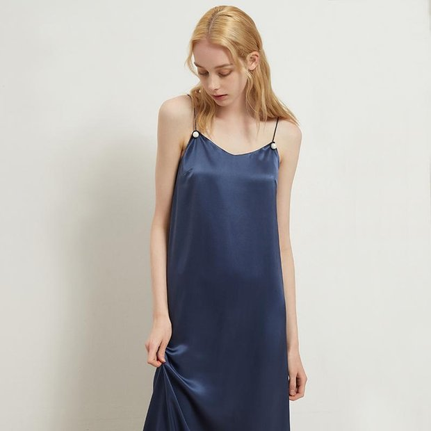 Women Navy Blue U Neck Silk Dress、Real Silk Life
