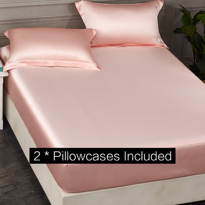 19 Momme Light Pink Single Side Mulberry Silk Fitted Sheet& Pillowcase Set、Real Silk Life