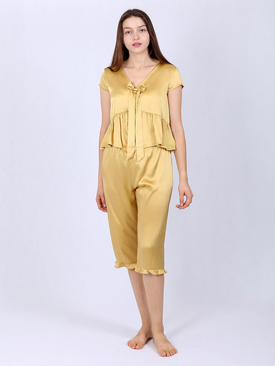 22 Momme Gold Women's Silk Pajamas With Bowknot、Real Silk Life