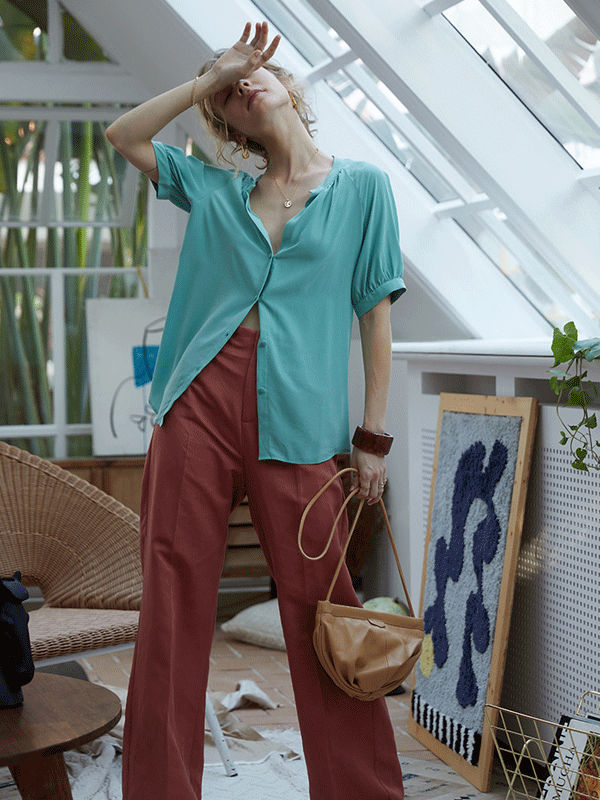 Cyan Blue Silk Blouse、Real Silk Life
