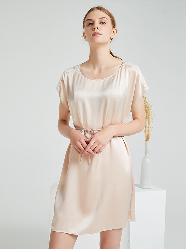 19 Momme Loose Short Sleeves Silk Nightgown 、Real Silk Life