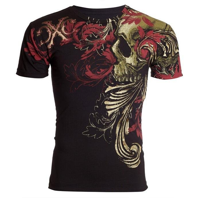 Men's retro print casual short sleeve T-shirt / [viawink] /