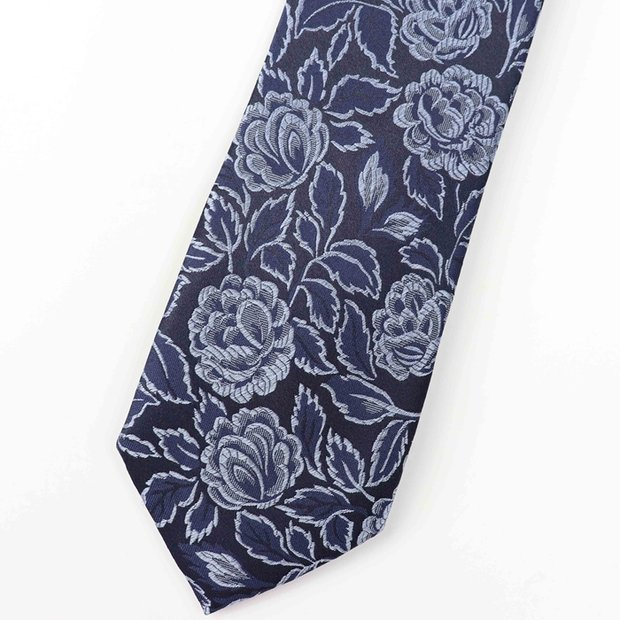 Flower Print Navy Blue Silk Tie、Real Silk Life