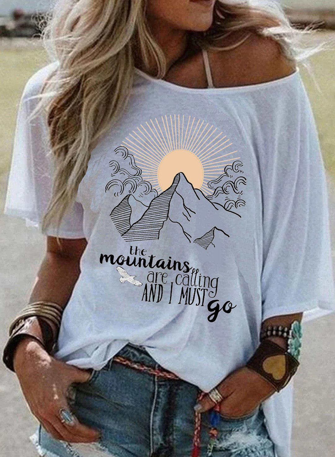 White Women's T-shirts Letter Print Short Sleeve Cold Shoulder Daily T-shirt LC2525535-1