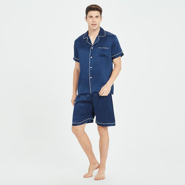 19 Momme Classic Short Pajamas Set For Men、Real Silk Life