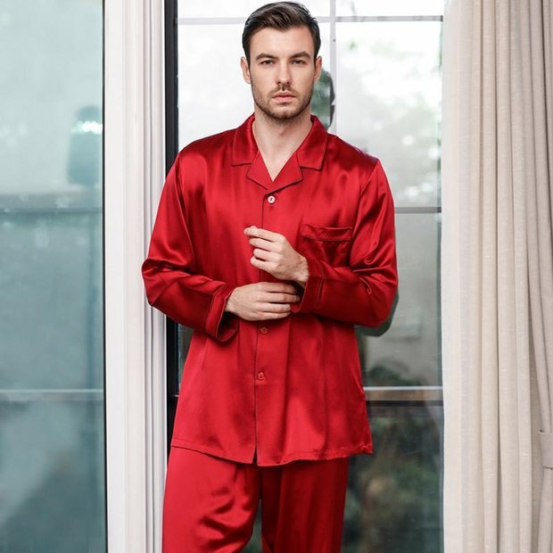 Monogrammed 30 Momme Luxury Pure Silk Pajamas Set For Men、Real Silk Life