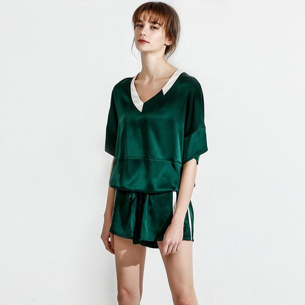 19 Momme Sport Loose Short Silk Pajamas、Real Silk Life
