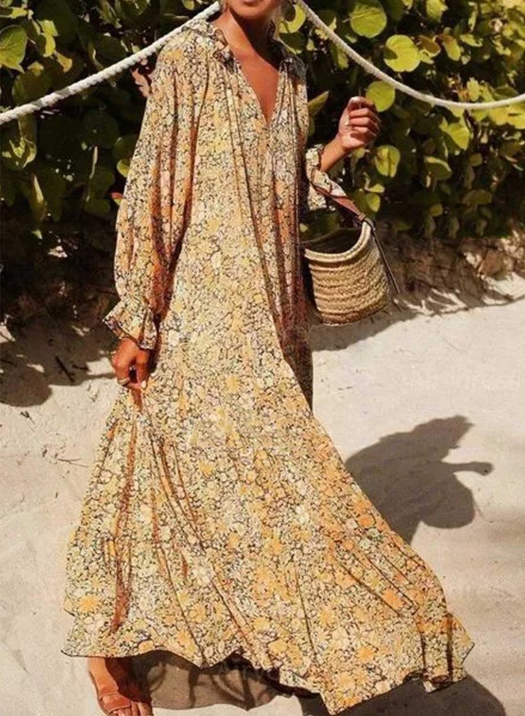 Yellow Women's Maxi Dresses Floral Long Sleeve Flare V Neck Dress LC614549-7
