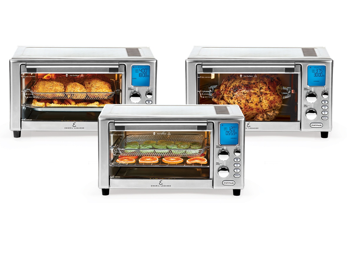 air frying functions: air fry chicken and fries, rotisserie chicken, dehydrate fruit