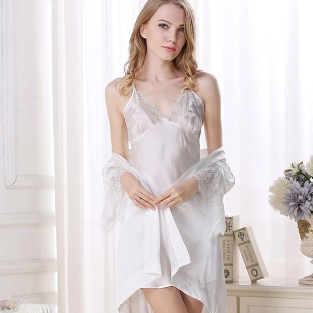 22 Momme High Quality Women's Lacey Silk Robe Set-Two Pieces、Real Silk Life